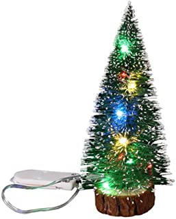 Tabletop Christmas Tree with Led Lights Colorful Artificial Mini Pine Battery Operated Lamp Ornaments Battery Operated Wooden Base for Merry Xmas New Year Home Wedding Party Decor Favors