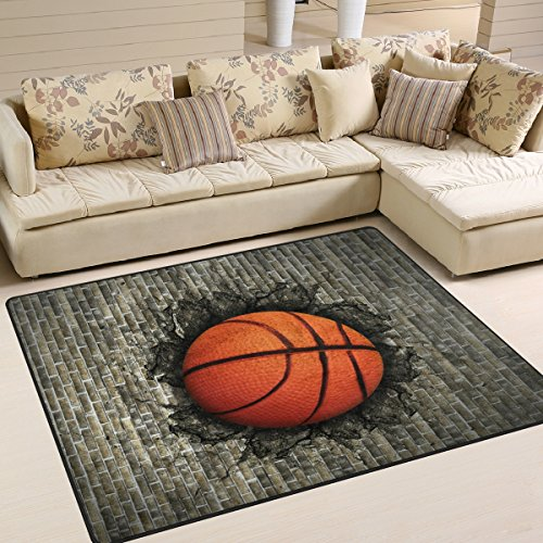 Use7 Alfombra de baloncesto 3D incrustada en pared de ladrillo, estilo vintage, para sala de estar, dormitorio, 160 cm x 122 cm