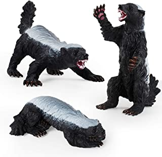 LC JoyCre 3 PCS Wild Animal Figures Model Honey Badger Figurines Cake Topper Decoration Toys Set Collection for Kid Boys Girls 5 6 7 8 Years Old