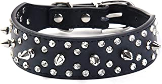 Wellbro Spiked Studded PU Leather Dog Collar, Fashionable and Colorful Dog Training Collar, with Bullet Rivets and Rhinestones, Soft and Adjustable for Medium and Large Pets