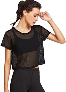 Women Mesh Shirts Cover Up Sports Meshed Tops Dancing Fitness