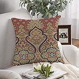 N\A Funda de cojín Cuadrada Decorativa Alfombra Tradicional Diseño árabe Colorido Indio Textura con Motivos de Moda Patrón de Texturas Textiles Azules Funda de cojín Suave para Dormitorio Sofá Sofá