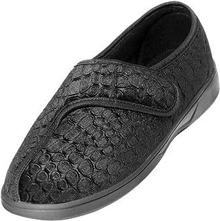 Easy Closing Velcro Slippers for Swollen Feet - Black 10
