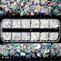 12 Boxes Holographic Nail Sequins, Teenitor Iridescent Mermaid Flakes Ultra-thin Colorful Glitter Sticker, for Nail Art Decoration, Paillette Cosmetic Festival Glitter, Craft or Face Hair Decor