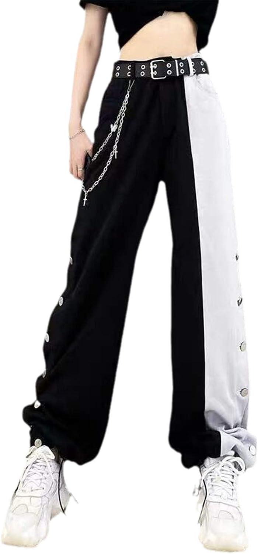KHUGIU Hip Hop Wide Leg Pants Autumn Winter Streetwear Stripe Trousers Women Plus Size High Waist Casual Pants