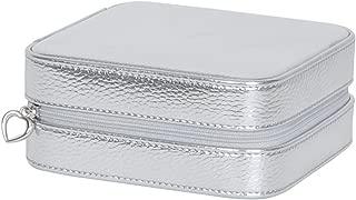 Mele & Co. Luna Travel Jewelry Case in Metallic Faux Leather (Silver)