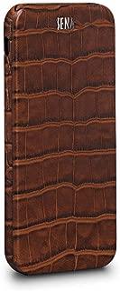 Sena Magnet Flip, Handmade All Leather Vertical Flip case for The iPhone 7 Plus & 8 Plus - Croco Brown