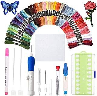 KNITISS Juego de bolígrafos de bordado mágico Juego de agujas de punzón de bordado Herramienta de artesanía que incluye 50 hilos de colores (50 colores)