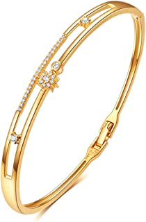 E 18K Gold Plated Bangles Bracelets for Women, Cubic Zirconia, Jewelry Gifts