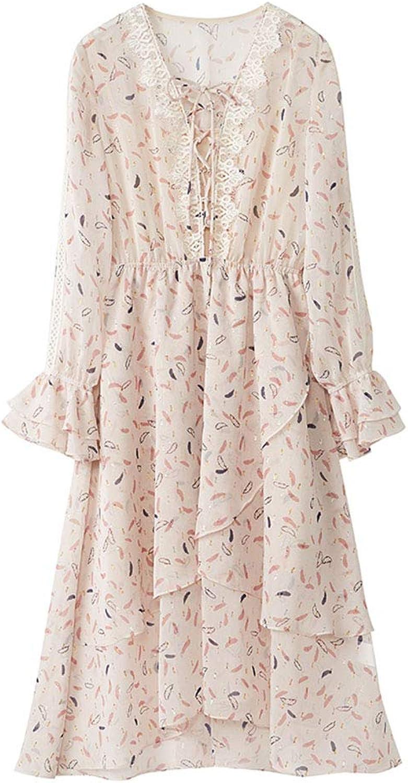 Spring Women's Dress  Ladies Print Ruffled Long Sleeve Dress  Spring Irregular Skirt