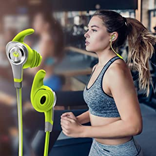 MONSTER® iSport Intensity Wireless Bluetooth Headphones In-Ear Earbud Headphones Microphone and Volume Control,Waterproof,Wireless Earbuds Sport,Richer Bass HiFi Stereo Case, 5+ Hrs Playback Noise Cancelling Headsets Perfect For Workout, Running, Gym ,Outdoor, Green