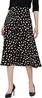 Charis Allure Women's Vintage Polka Dot Printed A-line Pleated Flared Midi Skirts