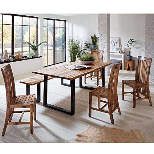 Pharao24 Baumkantentisch mit Bank und Stühlen Akazie massiv Breite 200 cm Tiefe 100 cm 8 Sitzplätze