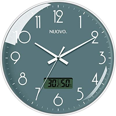 NUOVO 12-inch Temperature and Humidity Circular Wall Clock Silent, no tick, no Glass, for Living Room, Bedroom, Kitchen (30cm/Grey)