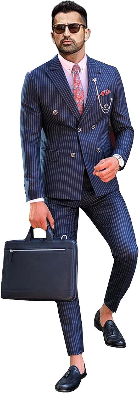 Men's 2 Pieces Suit Slim Fit Stripe Tuxedos Groom Retro Blazer Jacket + Pants