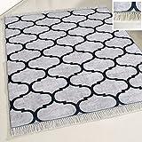 mynes Home Waschbarer Teppich Grau marrokanisches Design mit Anti-Rutsch Rücken Fransenteppich meliert für Küche & Bad Wohnzimmer Modern (80cm x 150cm)