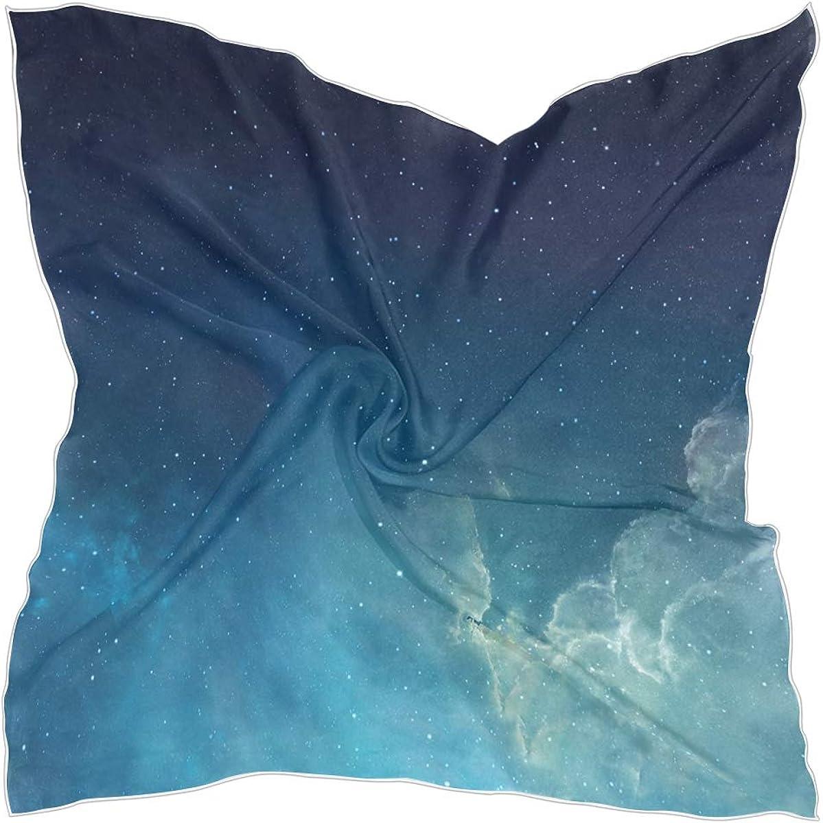 VOUSME Women Small Square Silk Feeling Satin Scarf Galaxy Nebula Pattern Mixed Designs Fashion Pattern Neck Head Scarf Scarves Bundle 23 x 23 Inches