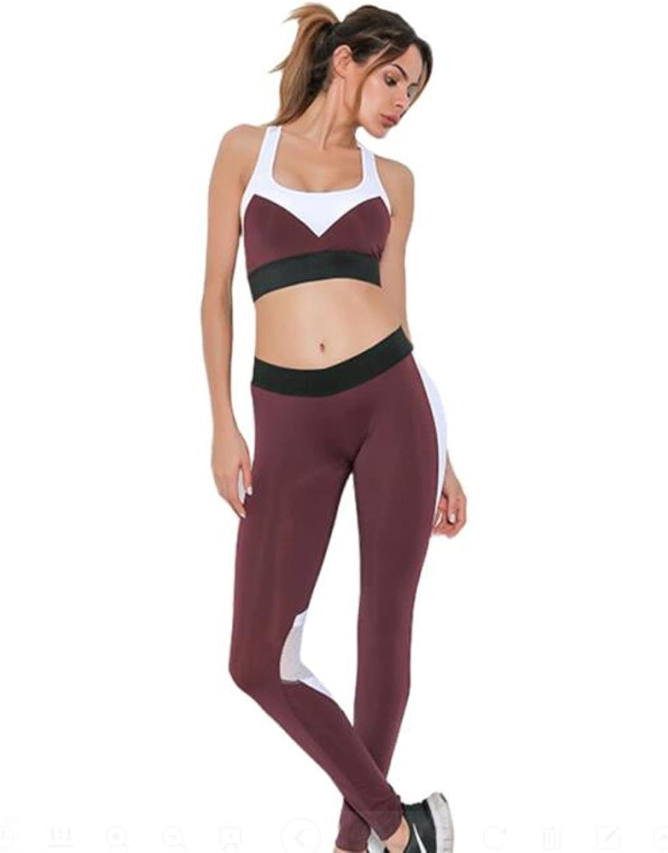 TUONFC Yoga Suit Women Mesh Patchwork Sport Sets Padded Fitness Bra Elastic Waist Breathable Pant