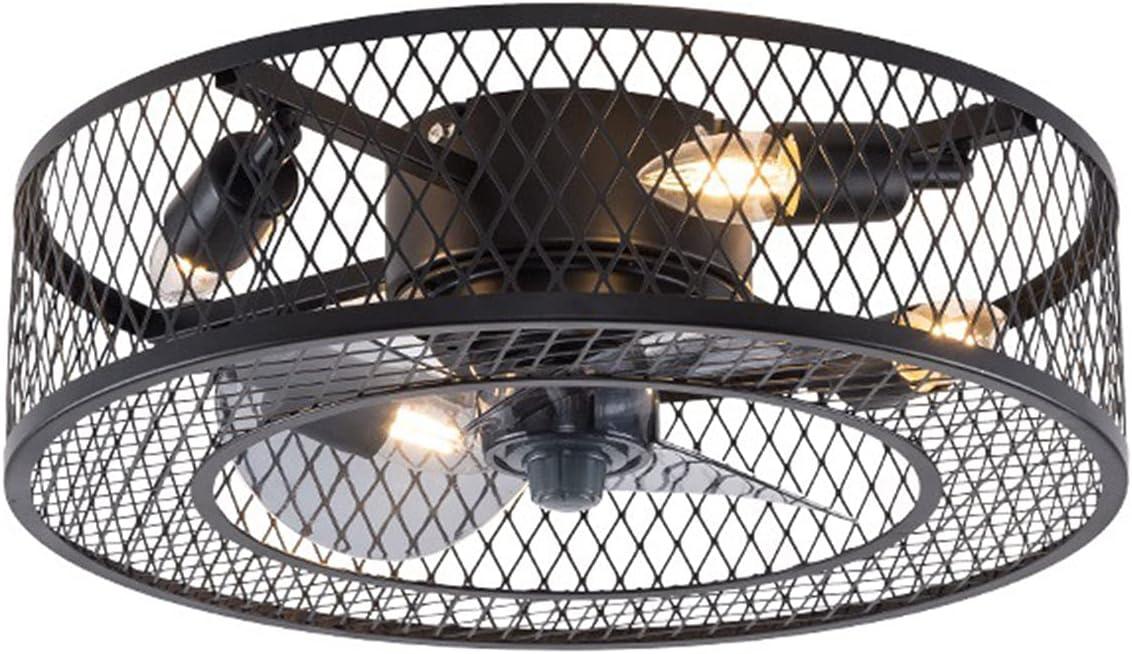 WEIHE Ventilador De Techo Enjaulado De Bajo Perfil con Luz, 3 Velocidades Ajustables, Luces De Ventilador De Techo Cerradas con Control Remoto, Pequeño Y Moderno Ventilador De Techo Industrial,A