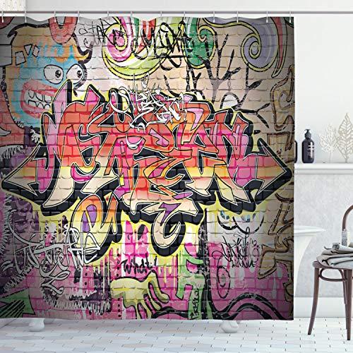 ABAKUHAUS urban Graffiti Duschvorhang, surreal Malerei, Wasser Blickdicht inkl.12 Ringe Langhaltig Bakterie & Schimmel Resistent, 175 x 200 cm, Schwarz Magenta