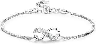 LDUDU Pulsera Mujer Símbolo Amor Infinito Pulsera Plata 925 Regalo para Navidad Día de San Valentín Cumpleaños, Ajustable ...