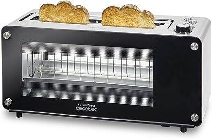 Cecotec VisionToast, Tostadora ventanas de cristal. Ranura XL. , 7 Niveles de tostado, 3 Funciones y 1260 W