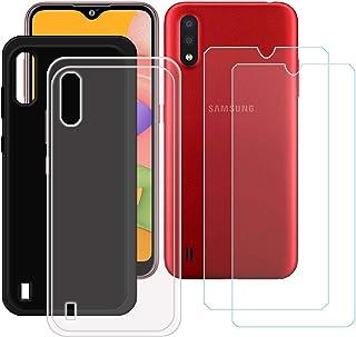 TTJ Svart + transparent fodral för Samsung Galaxy M01S + [2 stycken] HD pansarglas, mobiltelefonfodral silikon skyddande f...