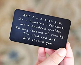 Anniversary Gifts for Men - Engraved Wallet Inserts - Perfect Birthday Gifts for Men in 2019! Metal Wallet Card Love Note, Anniversary Gifts for Men, Boyfriend, Husband Gifts from Wife