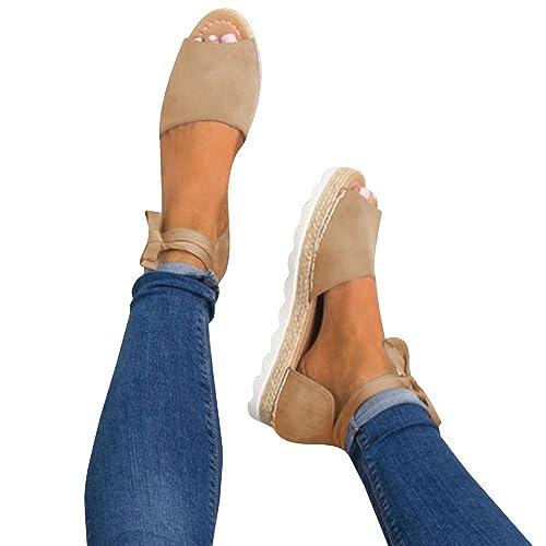 f9c90dc29d7 Fashare Womens Espadrilles Tie Up Flat Sandals Peep Toe Classic Cutout  D Orsay Dress Shoes
