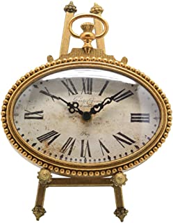 NIKKY HOME Vintage Pewter Oval Standing Table Clock, 6.5 by 9-Inch, Gold