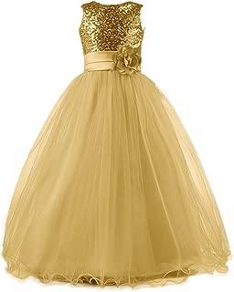 Long Sequin Top Tulle Flower Girl Dresses Party Dresses