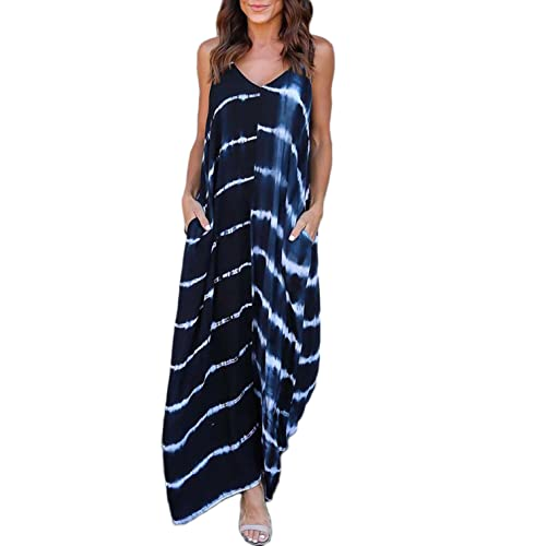 83ba4be40232f VONDA Women's Split V Neck Short Sleeve with Side Pockets Summer Long Maxi  Dress