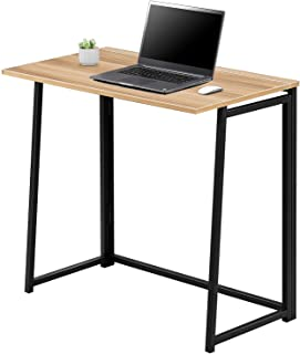 Kealive Computer Desk Small Folding Laptop Table Free Assemble Portable Study Reading Table,Modern Simple Writing Desk Compact Space Saving Home Office Workstation Natural