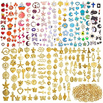 700Pcs Wholesale Bulk Lots Jewelry Making Charms Tuceyea Gold Plated Charms for Jewelry Making Assorted Bracelet Charms Necklace Pendant Earring Craft Supplies DIY Accessories