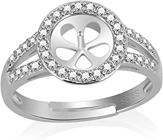 NY Jewelry 925 Sterling Silver Shiny CZ Round Rings for Big Pearl, Adjustable Pearl Ring Fittings/Accessories/Mountings for Women Jewelry Making