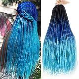 Ombre Color Crochet Hair Braids 24 Inch Senegalese Twists Natural Crochet Braid Hair For Black Women Pre Looped 6 Packs Long Micro Small Havana Crochet Hair Braid Styles Cornrows Two Strand Twists (6 Pack/Lot, Black/Blue/Light Blue)