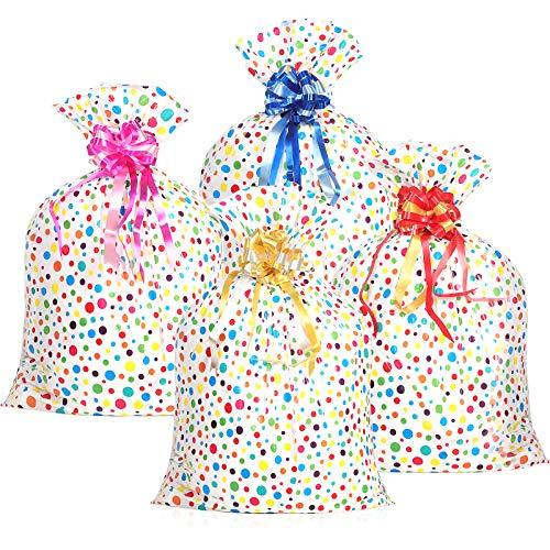 4 Stück Kunststoff Multi Farbe Punkt Taschen (36 x 48 Zoll) mit 4 Stück Ziehen Blumen Große Verpackung Geschenk Beutel für Baby Shower Geburtstag Hochzeit Party