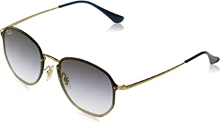 Ray-Ban RB3579N Blaze Hexagonal Sunglasses, Gold Demigloss/Blue Gradient Mirror, 58 mm