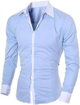 Camisas Hombre,Camisa de Hombre de Negocios Camisa de Manga Larga Casual para Hombre Camisa de Vestir Slim fit Camisa de Vaquero Blusa Tops Outwear