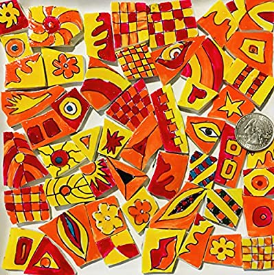 Mosaic Art and Crafts Supplies HP Hand Painted Recycled Broken Dish Tiles Bright Multicolored Colored Patterns AP09