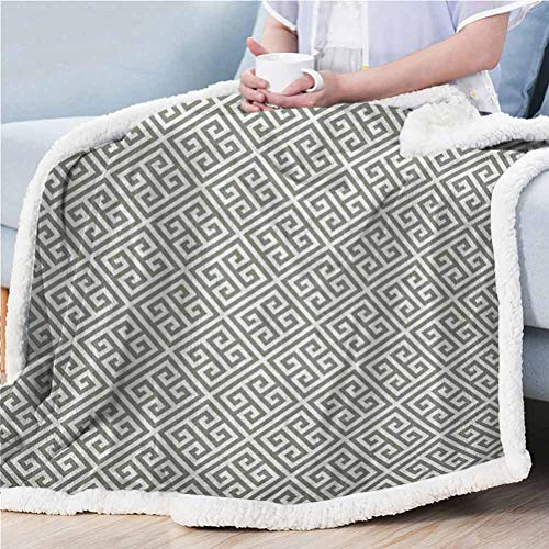ParadiseDecor 60'x70' Greek Key Soft Fleece Blanket Super Soft Comfy Warm Fuzzy Tv Blanket Geometrical Composition with Traditional Labyrinth in Sage Green and White Sage Green White