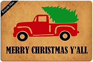 Ruiyida Vintage Truck Merry Christmas Y'all Doormat Custom Home Living Decor Housewares Rugs and Mats State Indoor Gift Ideas 23.6 by 15.7 Inch Machine Washable Fabric Top