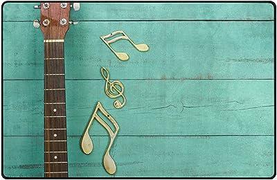 Myrdora Alfombras de área Guitarra con Notas Musicales Doradas ...