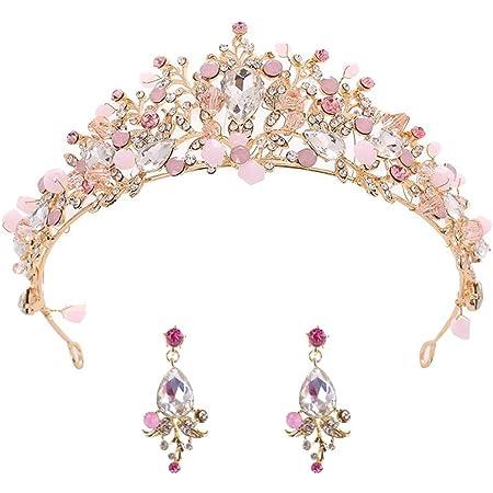 BETOY Tiara Corona di Cristallo Bridal Tiara Strass di Cristallo Corona di Cristallo Retro e Orecchini per Ragazza Wedding Tiara Bride Prom