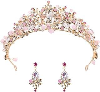 BETOY Tiara de Boda Novia Dama de Honor Corona Diadema Cristal Rhinestone Tiara Corona para niña Boda Tiara Novia Baile de...