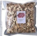 Brennholz Handel Warnecke Wood Chips Buche 1,8 kg 2 x 4 Liter Räucherchips für Grill und Smoker BBQ