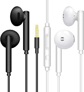 【2Pares Negro + Blanco】 Auriculares estéreo con micrófono y Control de Volumen Compatible con teléfono móvil, computadora,...