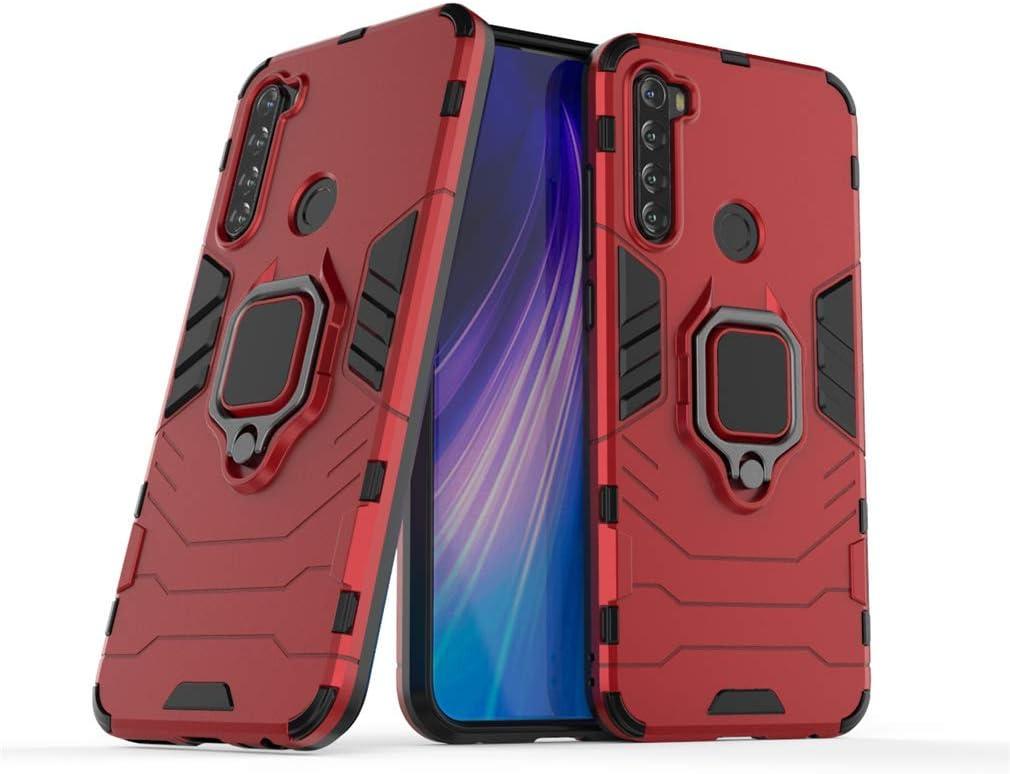 MRSTER Funda Xiaomi Redmi Note 8, Armor Funda con 360 Anillo Soporte, Anti-Arañazos con Absorción de Choque Resistente Carcasa Protectora para Xiaomi Redmi Note 8. HB Red