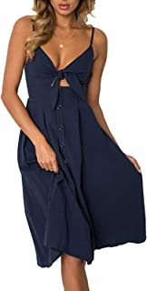 INIBUD Summer Beach Dresses for Women Strap Casual Tie Front Dress