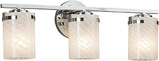 Fusion - Atlas 3-Light Bath Bar - Cylinder with Flat Rim Artisan Glass Shade in Weave - Polished Chrome Finish